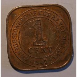 Malaje pod panowaniem brytyjskim 1 cent 1945. Miedź.