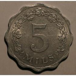 Malta 5 mils 1972. Aluminium.
