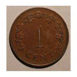 Malta 1 cent 1977. Brąz.