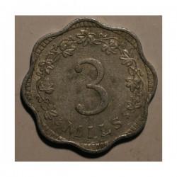 Malta 3 mils 1972. Aluminium