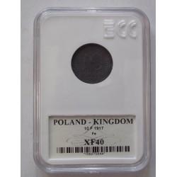 Królestwo Polskie 10 fenigów 1917. Żelazo. Grading GCN XF40