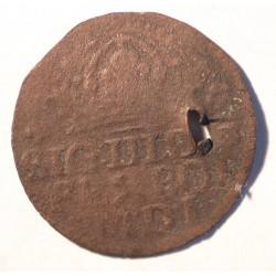 Grosz koronny 1614 - fals z epoki. Wybity w miedzi, skasowany