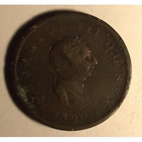 Wielka Brytania 1/2 pensa 1806, panujący Jerzy III. Brąz