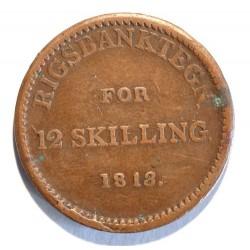 Dania 12 skilling 1813, żeton emitowany przez Rigsbank