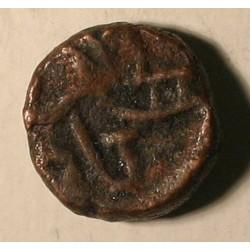 Naga z Narwaru, król Ganapati Naga ok. 340 n.e. Brąz, 1/4 kakini.