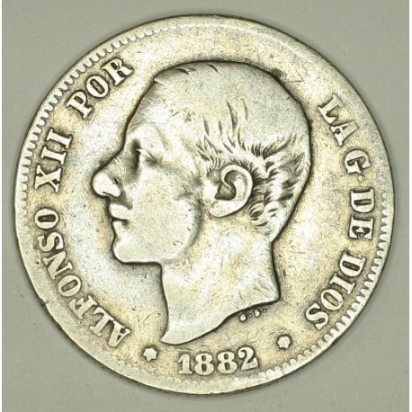 Hiszpania 2 pesety 1882. Srebro.