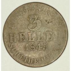 Hesja Kassel 3 halerze 1845