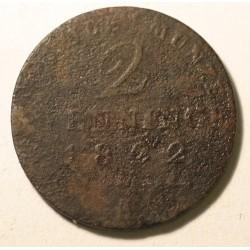 2 pfennig 1822 A