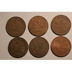 2 pfennig - zestaw 6 monet