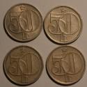 Czechosłowacja 50 halerzy - zestaw 4 sztuki.