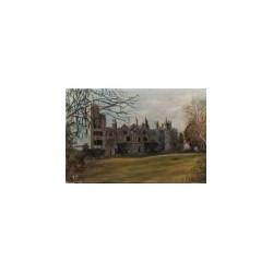 Zamek Netley - olej na płycie