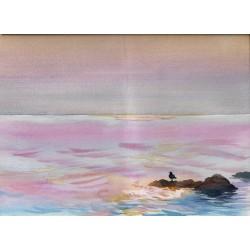 Zachód słońca - akwarela