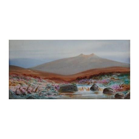 Szkockie góry - akwarela/gwasz