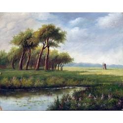Krajobraz z wiatrakiem - olej