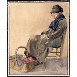 Starsza kobieta z koszem - akwarela