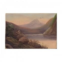Górskie jezioro - olej na kartonie