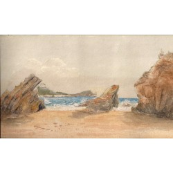 Plaża w Kornwalii - akwarela XIX/XX wiek