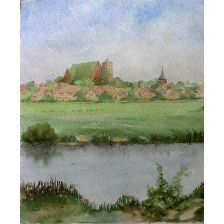 Nad brzegiem rzeki - akwarela XIX/XX wiek