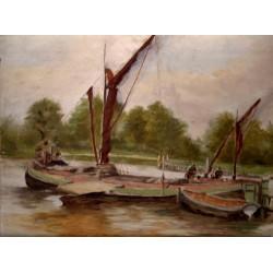 Barki na rzece - olej na panelu